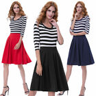 Retro Vintage Navy Style Striped 3/4 Sleeve Crew Neck T-Shirt A-Line Dress