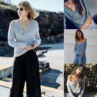Fashion Women V-Neck Cross Long Sleeve Loose Knitted Sweater Casual Jumper Tops