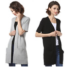 Women's Ladies Short Sleeve Knitwear Long Cardigans with Big Pocket