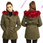 NEW Womens Oversized Hood Red Fur Parka Coat Ladies Khaki Jacket Size 8 to 16