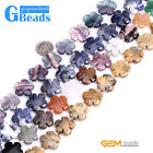 Natural 20mm Assorted Stones Flower Beads For Jewelry Making Free Shipping 15""