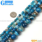 Blue Stripe Onyx Agate Faceted Round Beads For Jewelry Making Free Shipping 15""