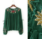 Women Vintage Floral Embroidery Puff Sleeve Blouse Top Occident Fashion Shirt