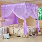 Purple Lace 4 Corner Luxury Post Bed Canopy Mosquito Net Royal Princess Netting