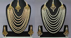 8 Strand Gold Plated Indian fashion jewelry wedding Pearl necklace earring tikka