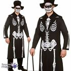 Mens Adults Halloween Day Of The Dead Skeleton Voodoo Fancy Dress Outfit & Hat