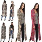 Ladies Leopard Tartan Printed Long Open Front Crepe Cardigan Full Sleeve Duster