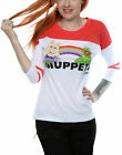 Muppets Baseball Shirt The Muppets Rainbow Official Womens New White 3/4 Sleeve