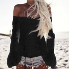 US Women Ladies Off Shoulder Long Sleeve Lace Blouse T Shirt Tops Sexy Club Wear