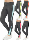 Womens Neon Panel Leggings Full Length Plain Dark Grey Stretch Ladies Pants 8-14