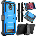 For Motorola Moto Z2 Force/Z2 Play Shockproof Hybrid Case Kickstand Clip Holster