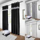 Diamante Lined Ready Made Eyelet Ring Top Curtains Pair Black / White / Silver