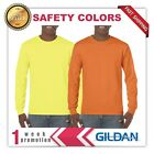 NEW MANS GILDAN LONG Sleeves t shirt road worker tee G5400 safety colors image