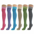 6 Pairs Childrens Girls Boys Kids Over Knee Thigh High Thin Striped Socks New