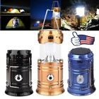 Collapsible Solar Outdoor Rechargeable Camping Tent Lantern Light 6 LED Lamp US
