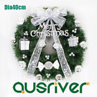Dia40cm Door Hanging Christmas Xmas Wreath PVC Leaves Bow Baubles Ornaments Deco