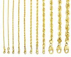"""10K Yellow Gold Genuine 7""""-32"""" Rope Chain Necklace Bracelet Men Women 2mm to 7mm"""