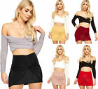 Womens Knotted Ruched Gathered Slinky Lined Stretch Ladies Bodycon Mini Skirt