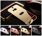2 in 1 Bling Diamond Mirror Back Cover + Metal Bumper Case For HTC M8 M9 M10 A9