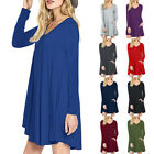 Women Ladies V Neck Cocktail Party Mini Dress Long Sleeve Tunic Jumper Tops GIFT
