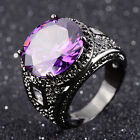 Round Cut Fashion Size 7,8,9,10 Man's Band Black 18K Gold Filled Amethyst Rings