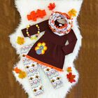 Thanksgiving Day Kids Baby Girls Outfits Clothes T-shirt Tops Dress +Long Pants