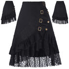 Retro Victorian Steampunk Gothic Costume Black Lace Ruffles Fancy Dress Skirt ;