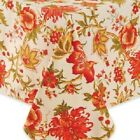 C & F SYDNEY FABRIC FALL COLORS FLORAL TABLECLOTH IN IVORY RED GOLD GREEN NIP!