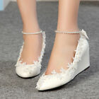 Fashion Women Lace White Ivory Crystal Wedding Shoes New Bridal Wedge High Heels