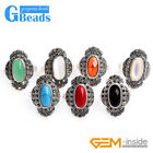 19x27mm Oval Stone Beads Flower Tibetan Silver Marcasite Ring Free Shipping