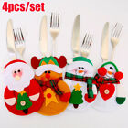 4X Christmas Table Cutlery Decorations Santa Cutlery Holder Mat for Knife Fork