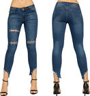 Womens Ripped Distressed Skinny Leg Pearl Jewel Ladies Stretch Denim Jeans