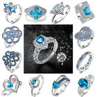 Fashion Women Lover Jewelry Various Styles Blue Topaz Gemstones Silver Ring Gift