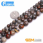 """Round Natural Gray Morocco Red Lace Agate Stone Jewelry Making Beads Strand 15"""""""