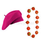 HOT PINK BERET HAT AND ONION GARLAND NECKLACE FRENCH FANCY DRESS COSTUME SET