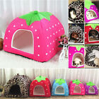 Soft Strawberry Pet Dog Cat Bed House Kennel Doggy Fashion Cushion Basket S-2XL