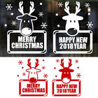 2018 Happy New Year Merry Christmas Wall Sticker House Shop Windows Decals Decor