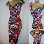 NEW DEBENHAMS DEBUT DRESS PENCIL WIGGLE FLORAL BLACK RED PARTY OCCASION 12 - 22