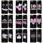 HEAD CASE DESIGNS PASTEL OVERLAY BLACK LEATHER BACK CASE FOR APPLE iPHONE PHONES