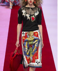 18 Occident Black Embroidery Top+Modern Vintage Printed Skirt Hearts Dress Suit