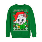 Lost Gods Ugly Christmas Sweater Crazy Cat Womens Graphic Sweatshirt