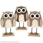 WOOLLY CUTE STANDING OWL UNUSUAL  DECORATION 3 COLOURS