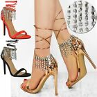 Womens Ladies Party Prom Diamante Sparkle High Heels Sandals Ankle Lace Up Size