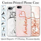 PERSONALISED MARBLE ROSE GOLD PINK GREY CUSTOM NAME GEL PHONE CASE FOR IPHONE