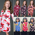 Fashion Toddler Kid Baby Girl Christmas Dress Long Sleeve  Dress