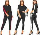 Womens Contrast Stripe Long Popper Panel Sleeve Crop Top Trouser Ladies Co-Ord