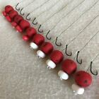 10 X HAIR RIGS PRELOADED WITH 15mm DEVOUR BAITS STRAWBERRY OOZE POPUPS CARP
