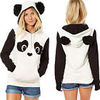 Women Panda Warm Fleece Hoodie Sweatshirt Hooded Pullover Tops Jumper Coat GIFT