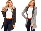 Womens Knitted Faux Fur Hooded Long Sleeve Zip V-Neck Top New Ladies Cardigan