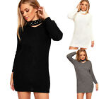 Womens Choker Pearl Neck Ladies Cable Knitted Long Sleeve Jumper Mini Dress